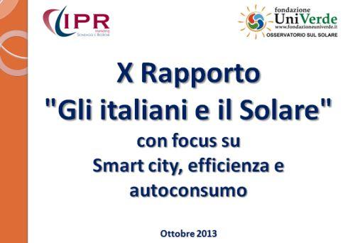 Gli Italiani e il Solare 2013 Fondazione UniVerde IPR Marketing