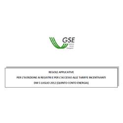 Regole Tecniche Iscrizione Registro GSE Quinto Conto Energia